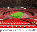 Beautiful modern rugby stadium with red seats 30996409