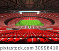 Beautiful modern rugby stadium with red seats 30996410