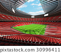 Beautiful modern rugby stadium with red seats 30996411