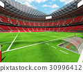 Beautiful modern rugby stadium with red seats 30996412