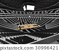 Beautiful modern basketball arena with black seats 30996421