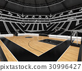 Beautiful modern basketball arena with black seats 30996427