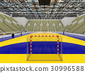 Modern handball arena with olive green seats 30996588