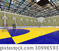 Modern handball arena with olive green seats 30996593