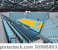 Modern handball arena with sky blue seats 30996803