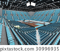 Beautiful basketball arena with sky blue seats 30996935