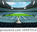 Beautiful modern rugby stadium with sky blue seats 30997014