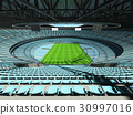Beautiful modern rugby stadium with sky blue seats 30997016