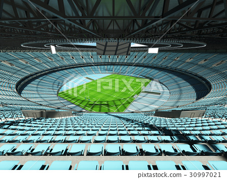 Beautiful modern rugby stadium with sky blue seats 30997021