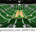 Beautiful modern basketball arena with green seats 30997361
