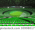 Beautiful modern rugby stadium with green seats 30998017