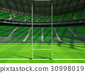 Beautiful modern rugby stadium with green seats 30998019