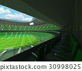 Beautiful modern rugby stadium with green seats 30998025