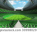 Beautiful modern rugby stadium with green seats 30998029