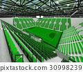 Beautiful modern handball arena with green seats 30998239
