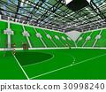 Beautiful modern handball arena with green seats 30998240
