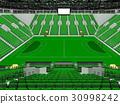 Beautiful modern handball arena with green seats 30998242