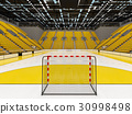 Modern handball arena with bright yellow seats 30998498