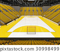Modern handball arena with bright yellow seats 30998499