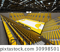 Modern handball arena with bright yellow seats 30998501
