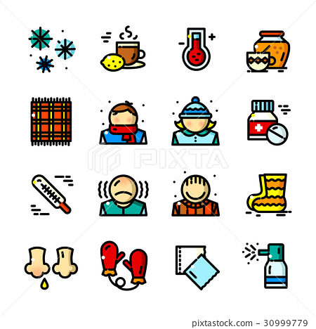 Thin line Colds icons set, vector illustration 30999779
