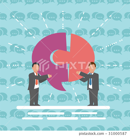 Communication Two businessmen with speech bubble 31000587