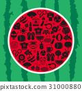 일본의 여름 수박 모양 아이콘 세트 31000880