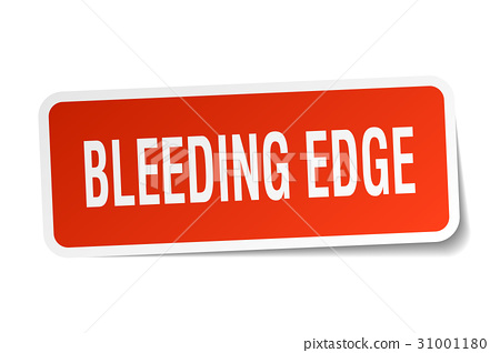 bleeding edge square sticker on white 31001180
