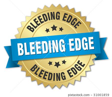 bleeding edge round isolated gold badge 31001859