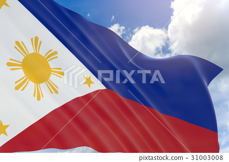 3D rendering of Philippines flag waving on sky 31003008