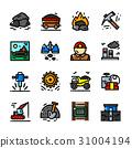 coal, line, icon 31004194