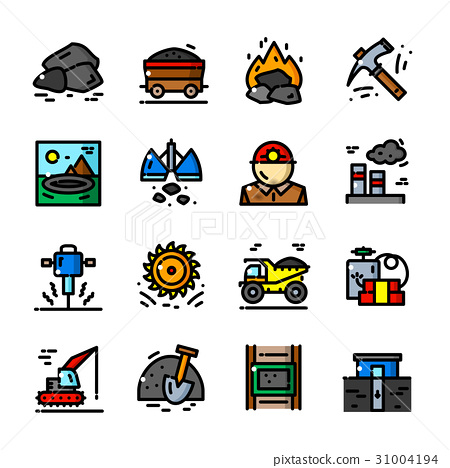 Coal Mining icons set vector illustration 31004194