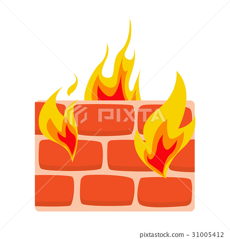 Firewall icon flat Wall in fire icon vector 31005412