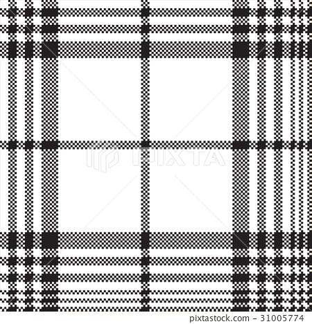 Pixels black white check plaid seamless pattern 31005774