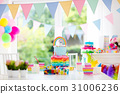 Kids birthday party decoration and cake 31006236