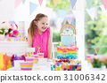 Kids birthday party. Little girl with cake. 31006342