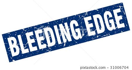 square grunge blue bleeding edge stamp 31006704