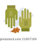 green gloves flat vector illustration. 31007164