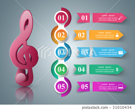 Music Infographic. Treble clef icon. Note icon. 31010434