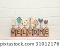 welcome text on the wall background and copy space 31012176