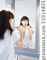 여성, 양치질, 거울 31014835