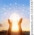 Abstract science, circle global network  in hands 31015487