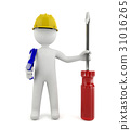 3d technician service man standing isolated 31016265