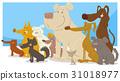 happy sitting dogs group cartoon 31018977