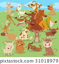 cartoon happy dogs group 31018979