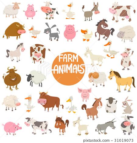 cartoon animal characters large set 31019073