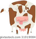 cute spotted cow character 31019084