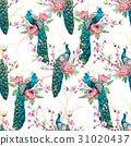 Watercolor peacock vector pattern 31020437