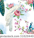 Watercolor vector peacock and flowers pattern 31020440