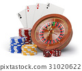 Casino o gambling concept. Roulette, casino chips 31020622